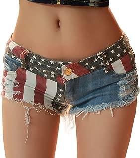Sexyshine Women's Sexy Low Waist Rise Hot Pants American Flag High Cut Mini Denim Beach Clubwear Shorts