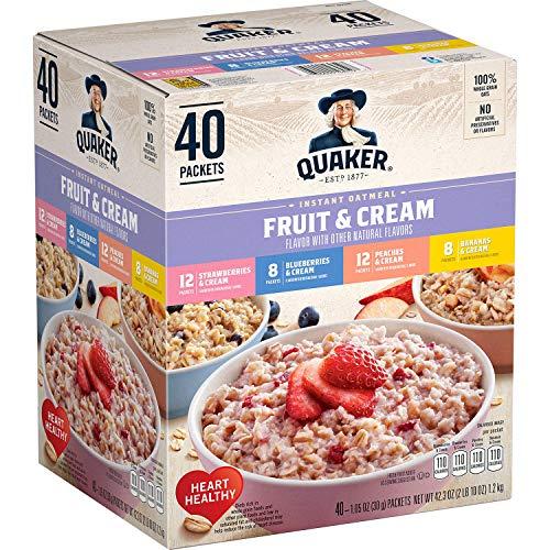 Quaker Fruta y crema de avena instantánea, paquete variado (40 unidades) peso neto 47 oz