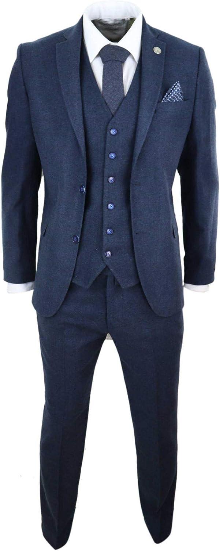 Mens Wool 3 Piece Suit Tweed 4 Pocket Authentic 1920s Vintage Fit