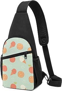 Patrón sin costuras con diseño de fruta naranja y helado, bolsa de hombro ligera mochila para el pecho, bolsa cruzada de v...