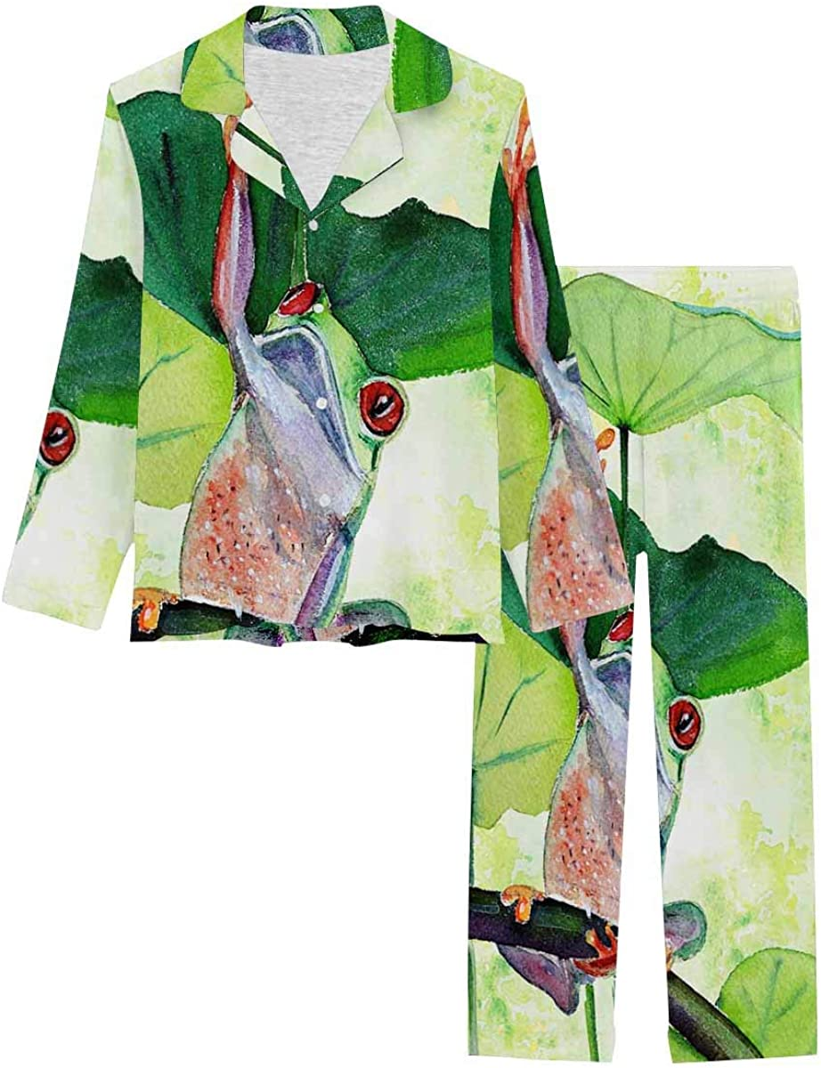 InterestPrint Gorgeous Pajamas Don't miss the campaign Set Long Sleeve Loungewear Button Fro with