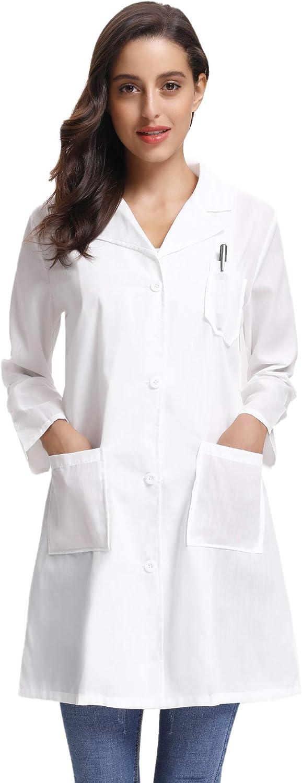Abollria Women's White Full Length Lab Coat with Three Pockets
