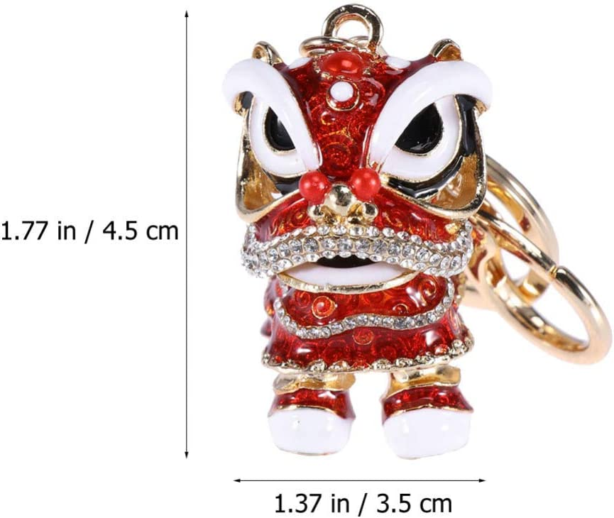 Amosfun 2Pcs Chinese Lion Dance Keychain Rhinestone Animal Keyring Chinese Style Pendant for Car Handbag Charm Creative Gift