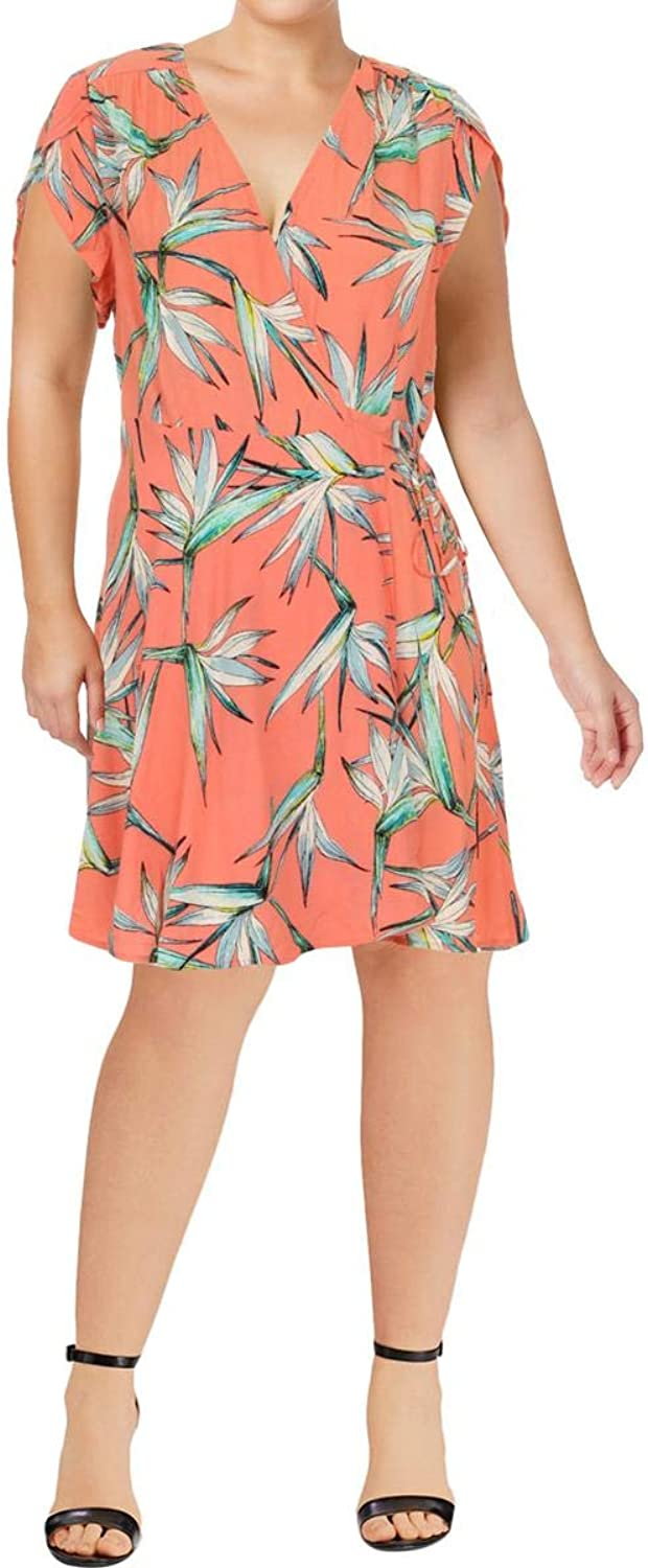 1.STATE Womens Floral Cap Sleeve Wrap Dress