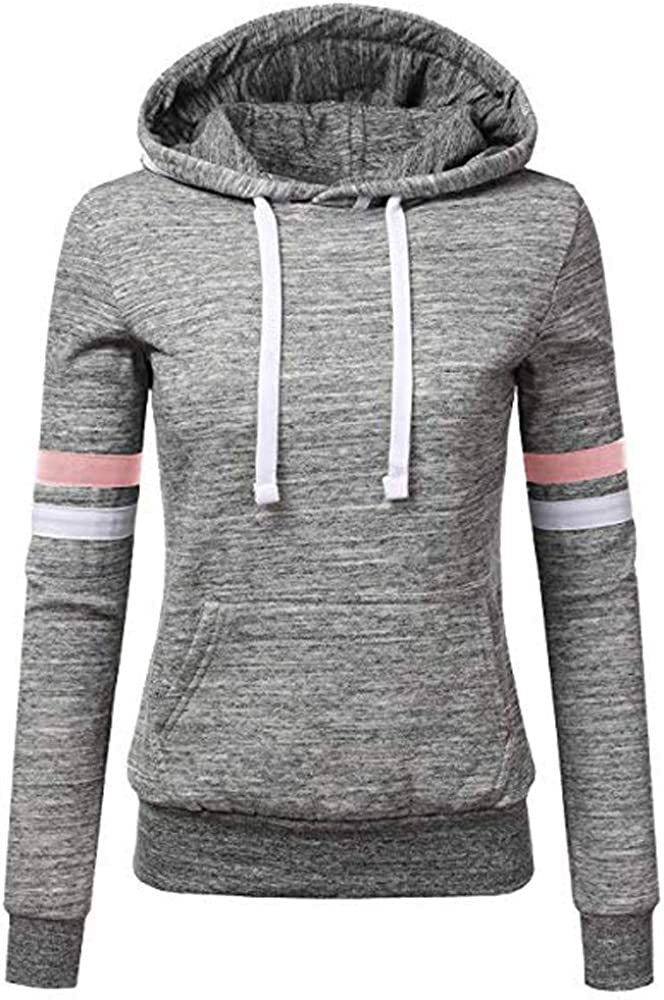 POTO Hoodie Sweatshirt for Women Lightweight Thin Hooded Pullover Tops Stripe Long Sleeve Jacket with Pockets