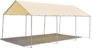 ALION HOME Carport Canopy Replacement Permeable Sun Shade Cover High Peak (Frame Not Included) (14' X 26' fits 12' x 26' Frame, Beige)