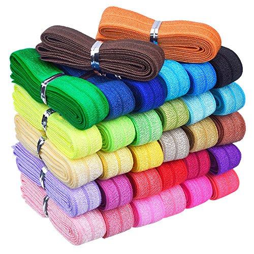 32 Yards Ribbon Elastic Foldover Elastics Stretch Hair Ties Headbands for Baby Girls Hair Bow (32 Color Set 1)