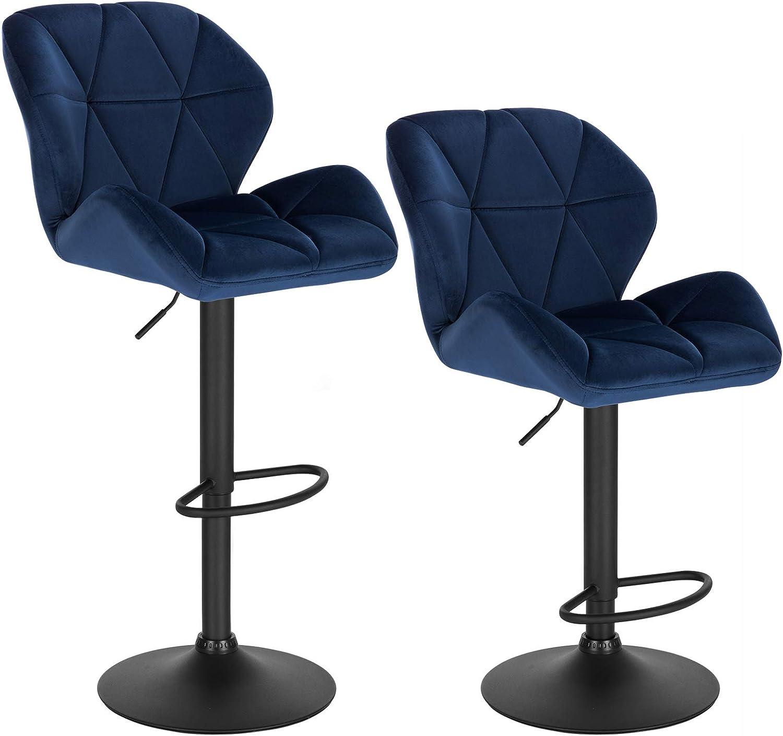 WOLTU Bar Stools Blue Bar Chairs Breakfast High Dining Stools for Kitchen  Island Counter Bar Stools Set of 9 pcs Velvet Exterior/Adjustable Swivel  Gas ...
