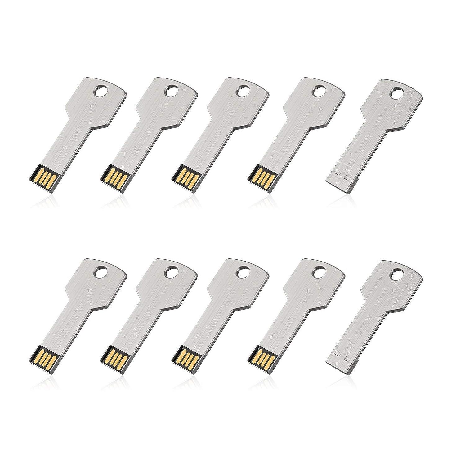 RAOYI 10Pack 32GB USB Flash Drive Metal Memory Stick Thumb Drives Jump Drive Key Shaped 32G, USB 2.0 Stick Sliver