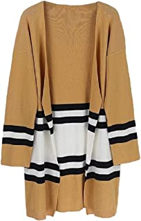 Womens Fashion Patchwork Long Sleeve Striped Color Block Open Front Knit Cardigans