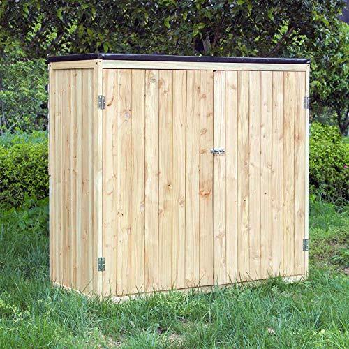 Caseta de jardín Madera Doble puerta Caseta para herramientas y aperos Cobertizo Armario de jardín
