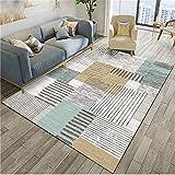 WQ-BBB Alfonbras De Dormitorios No deformado Decoración de Rayas marrón Azul Gris de diseño Simple alfombras Salon Grandes 300X400cm