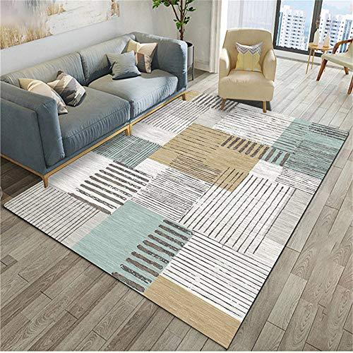 WQ-BBB Umweltfreundlich Rug Graues blaues braunes quadratisches Streifenmuster-Dekorationsdesign hygroskopizität Keine allergien Wohnzimmer Teppichboden schmutzläufer 160X230cm