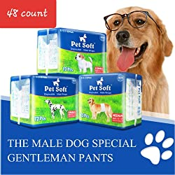 Pet Soft Disposable Male Wrap Dog Diapers Simple and Convenient, 48 Count