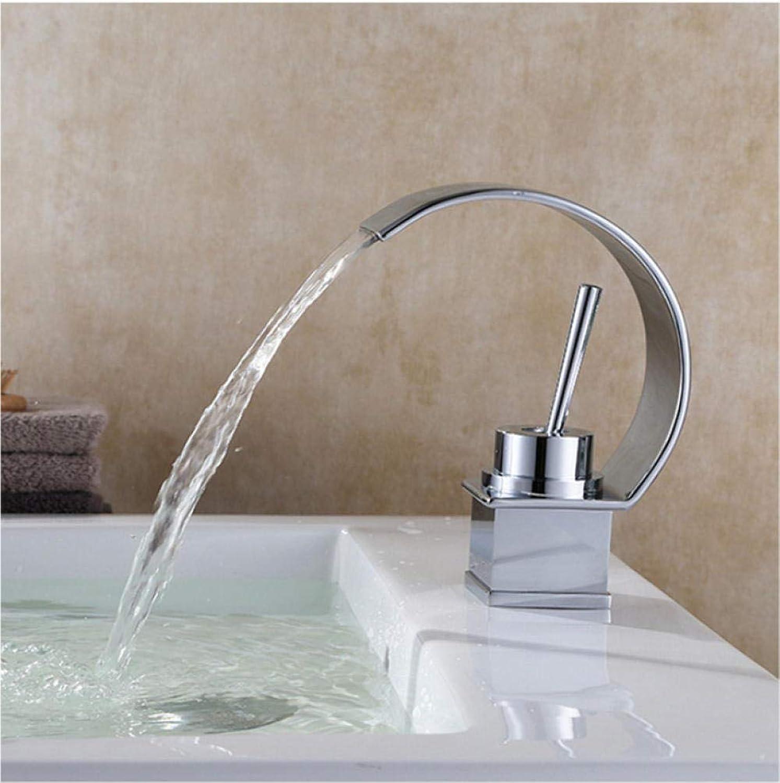 Wffmx Becken Wasserhahn Kalt- Und Warmwasser Wasserfall Bad Wasserhahn Einhebelmischer Mischbatterie Deckmontage Wasserhahn