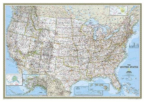 National Geographic: United States Classic Wall Map (43.5 x 30.5 inches) (National Geographic Reference Map)