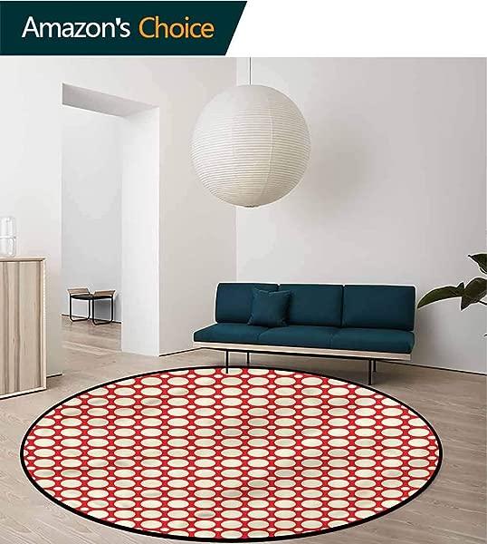 RUGSMAT Geometric Machine Washable Round Bath Mat Polka Dots Vibrant Non Slip No Shedding Bedroom Soft Floor Mat Diameter 24
