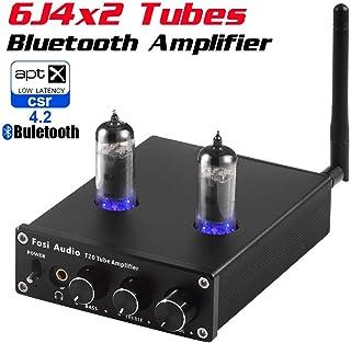 Neoteck Amplificador de Audio Estéreo Bluetooth 4.2 Amplificador de Auriculares con Tubos de Vacío 6J4 Certificado aptX HiFi Amplificador de Potencia Digital 50W x 2 para Altavoces Domésticos