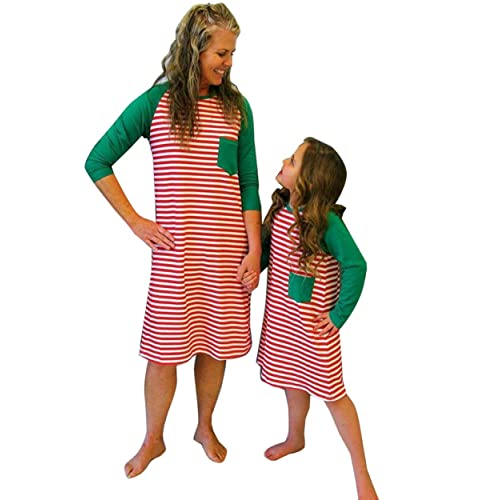 551811563a Christmas Casual Mother Daughter Winter Red Striped Maxi Dress Family  Matching Pajamas Nightgown Dress