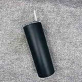 Acero inoxidable 20 oz Delgado vasos con tapas y pajas, vacío de acero inoxidable de doble aislamiento irrompible Vaso Copa de bebidas frías o calientes Para taza de oficina ( Color : Black )