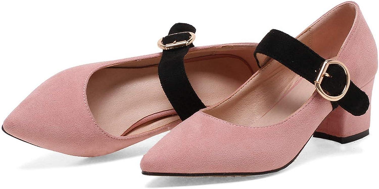 Pink-star Women Pumps shoes Buckle Mixed color Sandals Square High Heels shoes Autumn Women