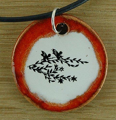 Echtes Kunsthandwerk: Toller Keramik Anhänger mit zwei Elfen; Elfe, Engel; Fee, elfenhaft, engelhaft, feenhaft, Elb, zaubern, magisch