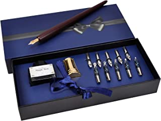 Plotube Wooden Pen Calligraphy Set - Dip Wood Pen Gift Writing Case with Golden NIB - Black Ink & 11 Nibs & Golden Pen Holder