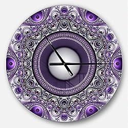 Designart Purple Fractal Pattern Oversized Modern Metal Clock, Circle Wall Decoration Art, 23x23 Inches