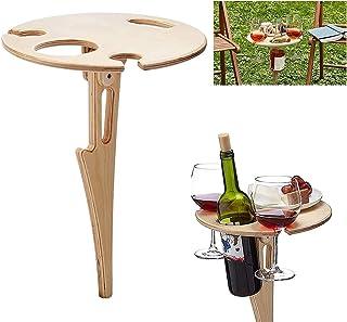 Mesa de Vino al Aire Libre Plegable,Mesa de picnic para vino al aire libre,soporte para copas de vino para camping,Mini Me...