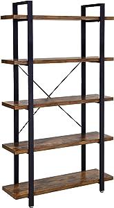 VASAGLE Industrial Bookshelf, 5-Tier Bookcase, Display Rack, Stable Ladder Shelf, Easy Assembly, Living Room, Bedroom, Office, Rustic Brown ULLS55BX