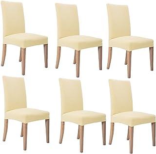 Inroy Fundas para Sillas de comedor cubierta elástica de la silla Paquete de 6 (Beige)