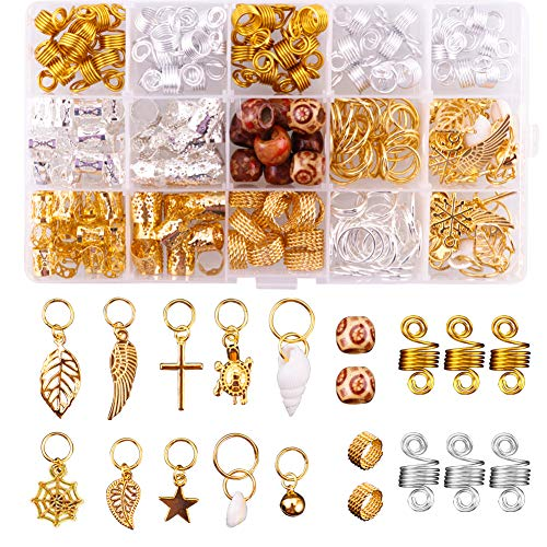 Juanya 230 Pieces Jewelry Aluminum Hair Coils with Box, Metal Hair Cuffs Shell Charms, Hair Braid Rings with Metallic Cord Hair Accessories, Hair Decoration, Hair Clips Hoops Pendants for Braids