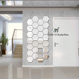 Wall1ders Atulya Arts 3D Hexagon Acrylic Decorative Wall-Stickers with 10 Butterfly Stickers (Silver) - Pack of 28