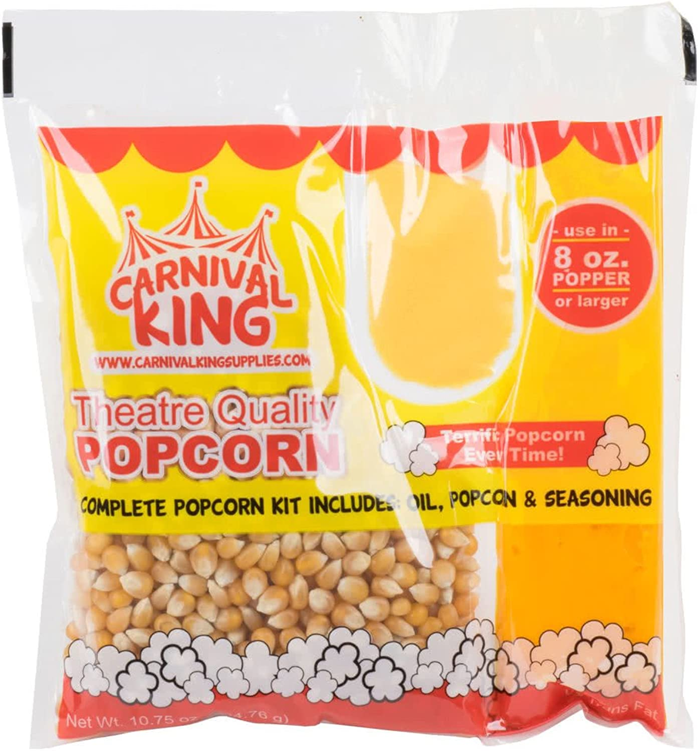 Carnival King All-In-One Popcorn Kit for 8 -10 Ounce Poppers - 24 Case