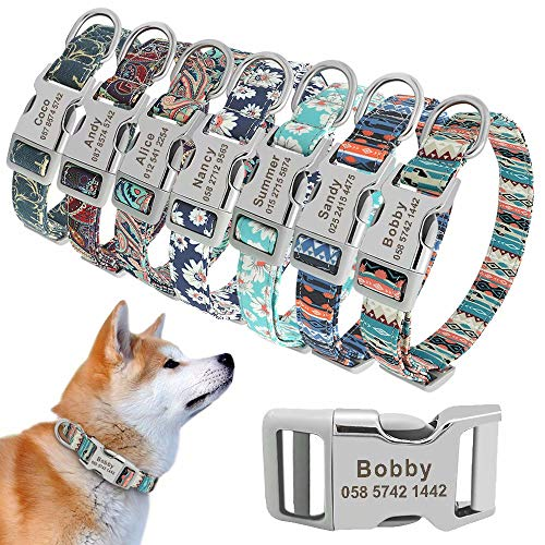 """Beirui Soft Personalized Dog Collars for Small Medium Large Dogs,Cute Floral Pattern Pet Puppy Collar with Custom Name Plate,M(3/4"""" Wide,Neck fit 10-16.5"""")"""