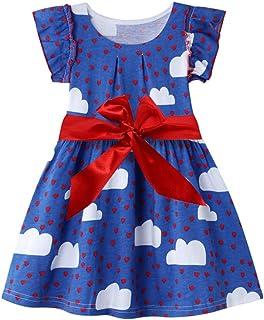 Byinns Girls' Cotton Dresses Short Sleeve Princess Dress Summer Casual Clothes