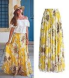chushi Vestidos de Mujer Gasa Mujer Floral Jersey Gitano Largo Maxi Estampado Completo Falda De Vacaciones Playa Vestido de Novia Zzib (Color : Yellow, Size : M)