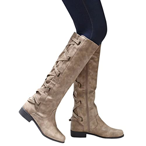 f8701736c6c Syktkmx Womens Lace Up Strappy Knee High Motorcycle Riding Low Heel Winter  Leather Boots