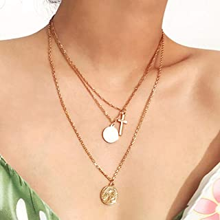 Outyua Boho Layered Necklace Chain Gold Cross Pendant Necklaces Coin Pendant Necklace Jewelry Birthday Gift for Women and ...