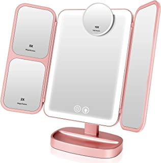 Easehold Makeup Vanity Mirror with Lights - Rechargeable 66 LEDs Lighted Trifold Mirror, 1X 2X 5X 10X Magnification Travel Mirror, Touch Control and 360° Rotation, Personal Cosmetic Beauty Mirror