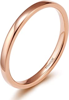 2mm 4mm Titanium Ring Rose Gold Plain Dome High Polished Wedding Band Size 4-13