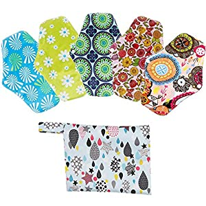 Menstrual Panty Pad, Weforu 5pcs Reusable Washable Sanitary Towel Cloth Pads Washable Sanitary Pad Postpartum Nursing Panty Liner Pads with Panty Bags