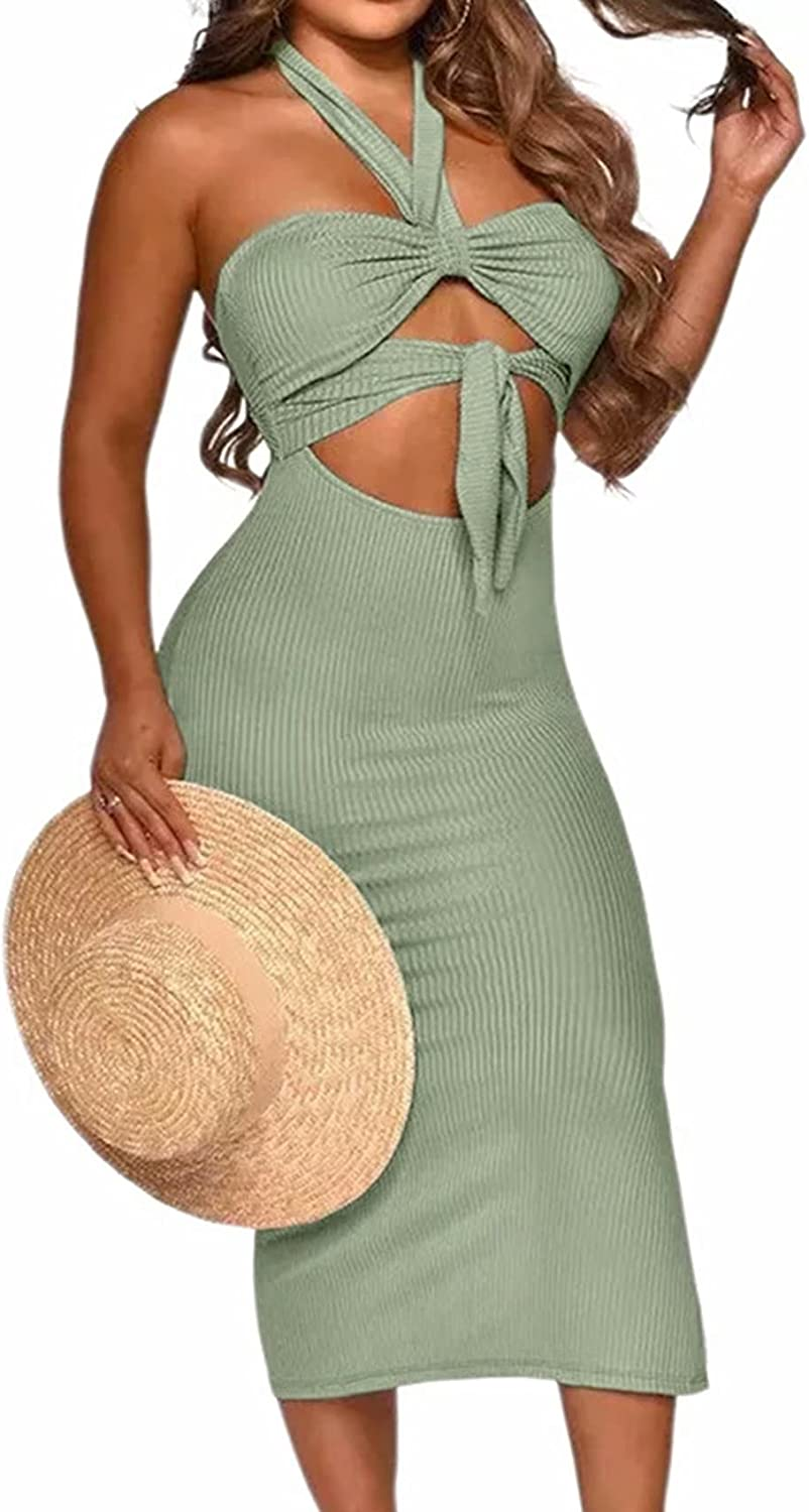 Women Sexy Bodycon Halter Split Cut Out Backless Hollow Out Club Solid Midi Maxi Dresses