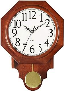 Wall Clock Non-Ticking Wall Clock النمط الصيني مثمن الصلبة الخشب الحائط ساعة الإبداعية المنزلية كتم ساعة المعيشة غرفة المع...