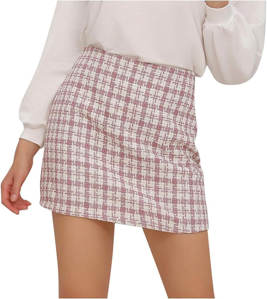 wendunide Women Short Skirt Grid Pint Fashion Casual High Waist Lattice Print Elastic Waist Short Skirt