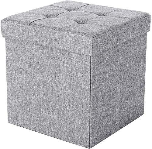Zedelmaier Sitzhocker mit Stauraum, Fußbank Truhen Aufbewahrungsbox faltbar belastbar bis 300 kg, Leinen, 38 x 38 x 38 cm (Hellgrau)