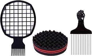 Beauenty Twist Hair Comb Metal Afro Pick Comb Set with Twist Hair Curling Sponge Twist Brush Curl Comb Twist Hair Sponge T...