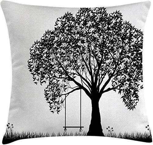 Árbol Throw Pillow Funda de cojín Silueta de árbol con ilustración de Columpio Flowersnd Grass Monochrome Pattern 18 'X 18'