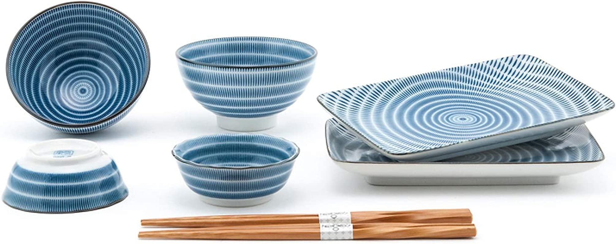 Happy Sales HSDS FCSBLU 8 Piece Japanese Dinnerware Sushi Plate Set Blue Tokusa