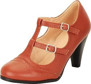 Cambridge Select Women's Vintage Retro Pinup Wingtip T-Strap Mary Jane Mid Heel Pump